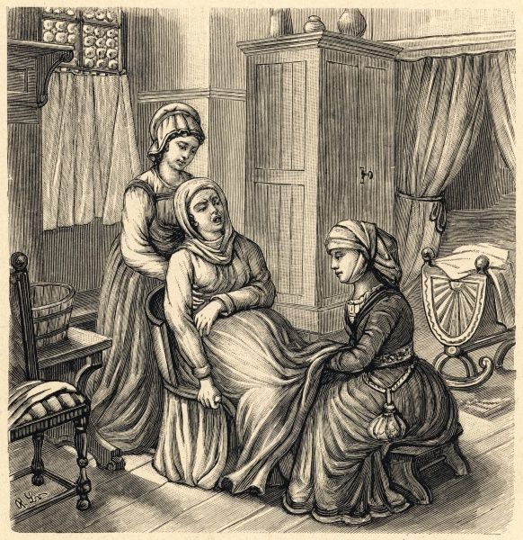 Using a BIRTH STOOL in a medieval household