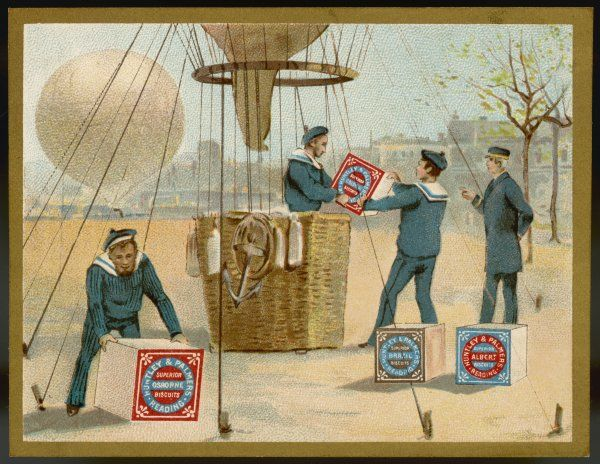 Delivery of Huntley & Palmer's biscuits by balloon