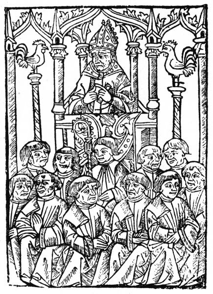A bishop preaches from his pulpit. Date: 15th century
