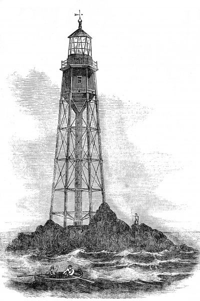 Engraving of the first Bishop Rock lighthouse, which was built in 1847 and destroyed by storms on 5th February 1850. The design, by Walker and Burges, was intended to allow high seas to pass through the lighthouse supports unimpeded. Unfortunately