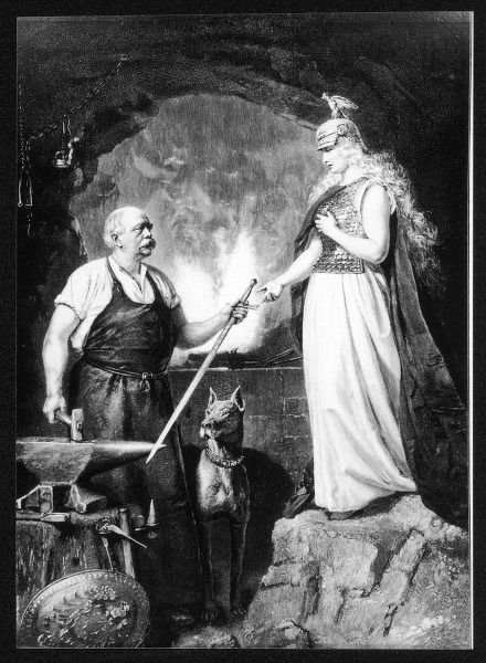 OTTO BISMARCK Prussian statesman, depicted as 'Smith of the Nation', handing a newly forged sword to Germania
