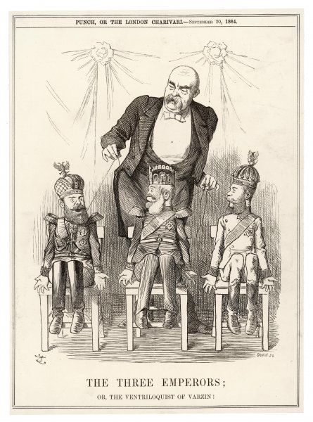 OTTO BISMARCK depicted manipulating the three emperors - of Russia, Austria and Germany - as though they are puppets