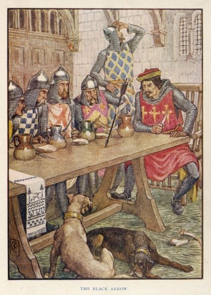 The evil Sir Isenbart de Belame and his lords, seated around their table at Wrangby, are startled by the Black Arrow which Robin and his men fired through the spy hole