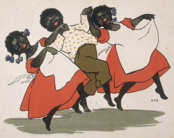 Three black children - two girls and a boy - dance in traditional style