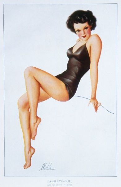 Black-haired pin up girl by Merlin Enabnit (1903-1979) dressed in a black swimsuit and striking a classic pin up girl pose