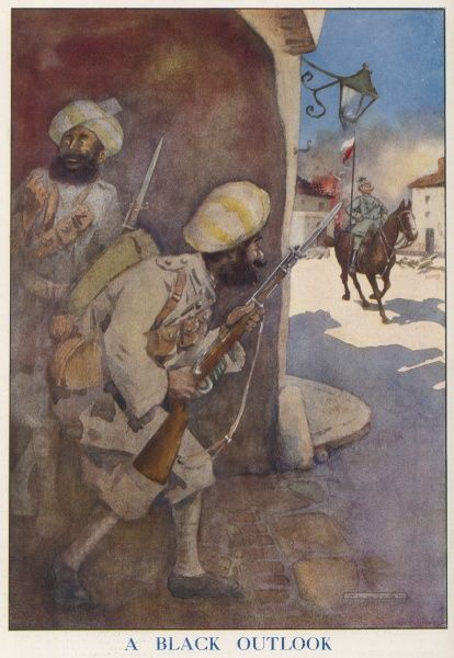 Two Sikh soldiers, with bayonets fixed, wait to ambush a German Uhlan on horseback. Apart from the terrible pun of the title, the Indian divisions fighting with the Allies were greatly respected