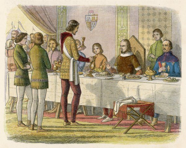 After defeating him at the battle of Poitiers, Edward the Black Prince waits on the French king at table