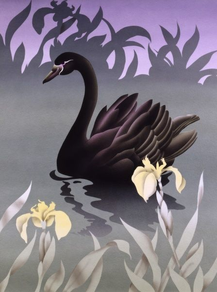 A very stylised airbrush painting by Malcolm Greensmith depicting a mysterious-looking Black Swan (Cygnus atratus) serenly swimming across dark, still waters, dark, ominous plants silhouetted in the background, weaving yellow orchids in the