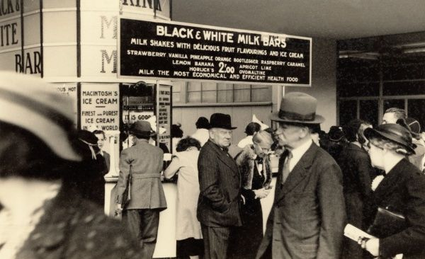 A Black and White Milk Bar sporting a monochrome livery and purveying milkshakes and ice creams in various flavours including bootlegger and ovaltine