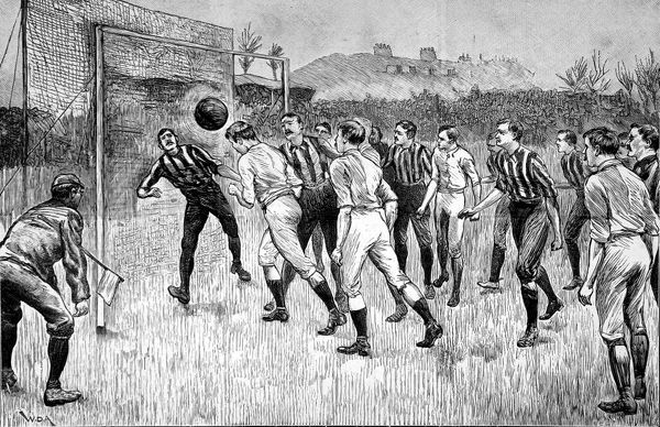 Engraving of the Football Association Cup Final between Blackburn Rovers and Notts County, played at the Kennington Oval, London, on 21st March 1891. The game was won by Blackburn Rovers 3-1