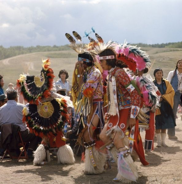 Performance of the Chicken Dance at the Blackfoot Indian Reserve, Alberta, Canada