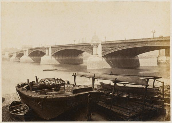 Blackfiiars Bridge with the dome of St Paul's. Boats to let, by the day or hour in the foreground