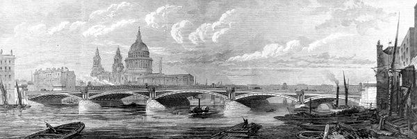 Engraving showing the then-new Blackfriars Bridge, spanning the River Thames, London, 1869. St. Pauls Cathedral is clearly visible in the background
