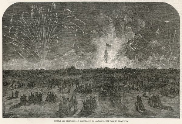 The fall of Sebastopol is celebrated with dramatic fireworks and a large bonfire on Blackheath