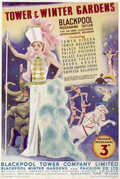 The front cover of a souvenir programme for the Blackpool Tower & Winter Gardens, including the Tower circus and ballroom