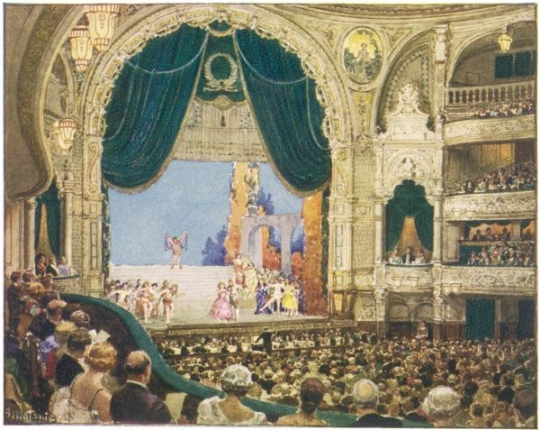 Interior view during the performance of a musical comedy