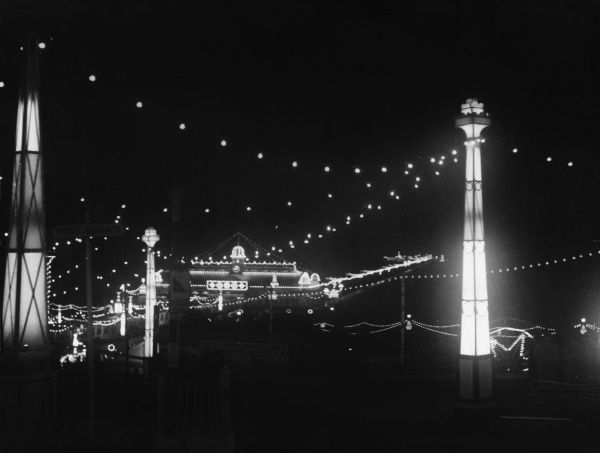 The famous Blackpool Illuminations, Blackpool being Lancashire's famous 'City of Light', when six miles of promenade are turned into a blaze of light