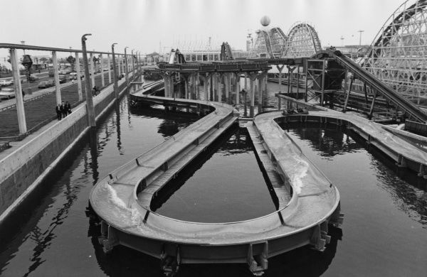 Part of the Log Flume water ride at the famous Pleasure Beach funfair at Blackpool, Lancashire, England. Date: late 1960s