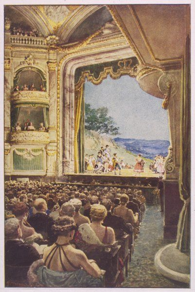 Interior view during a performance of Gilbert & Sulivan's 'The Pirates of Penzance&#39