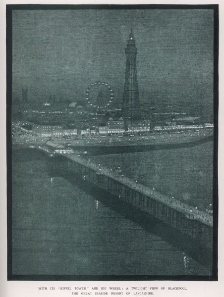 Blackpool, Lancashire: the Tower and pier by night