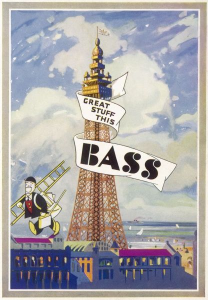 Blackpool, Lancashire: the Tower, helping to promote Bass Beer