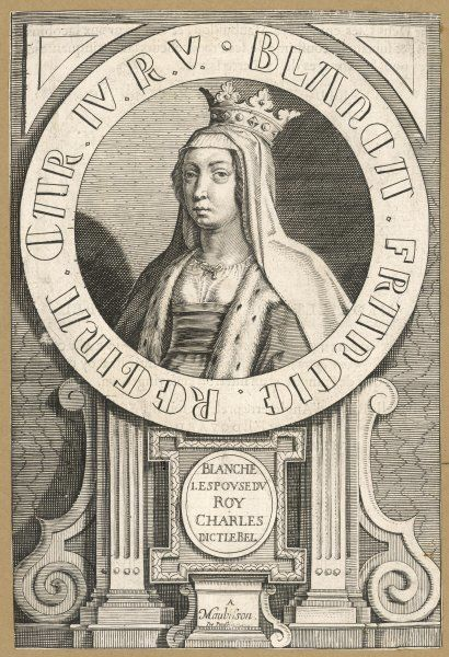 BLANCHE DE BOURGOGNE first queen of Charles IV le Bel, King of France, who married her in 1308 but repudiated her in 1322 after both her children had died young