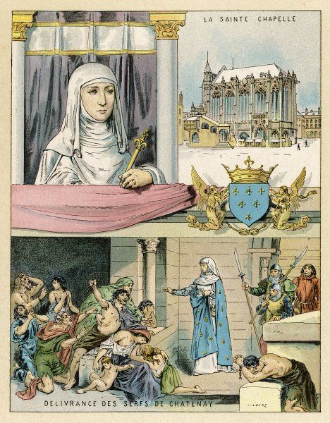 BLANCHE DE CASTILE queen of Louis VIII of France, regent for her son Louis IX, she rules firmly and wisely : here she delivers the unjustly imprisoned serfs of Chatenay