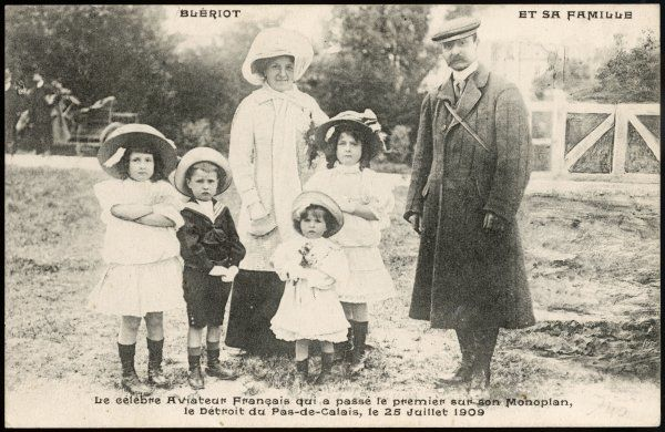 Louis Bleriot, French aviator, with his family