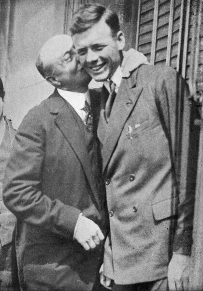 Louis Bleriot greets Charles Lindbergh (1902-1974) on his arrival in Paris