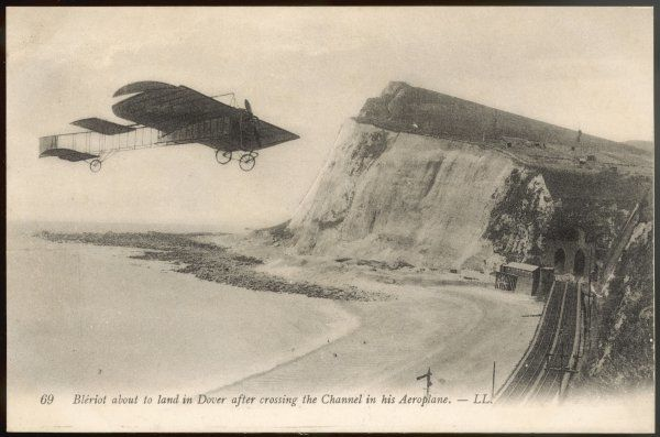 The intrepid Frenchman approaches the white cliffs of Dover, on which he is about to land after being airborne for 37 minutes