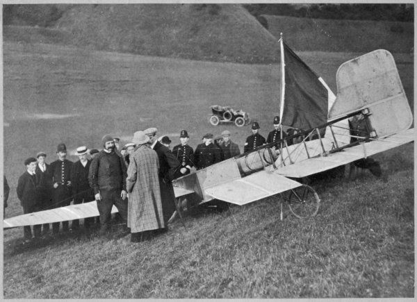 First flight across the English Channel ; after landing in North Fall Meadow, Dover