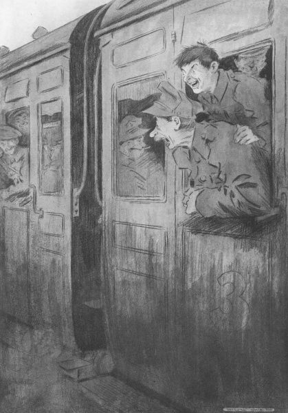 Two optimistic and rather over-excited Tommies, home on leave during World War I, lean out of their train carriage to breathe in the sweet smell of - the local gas works! A humorous reference to any smell being an improvement on those hanging
