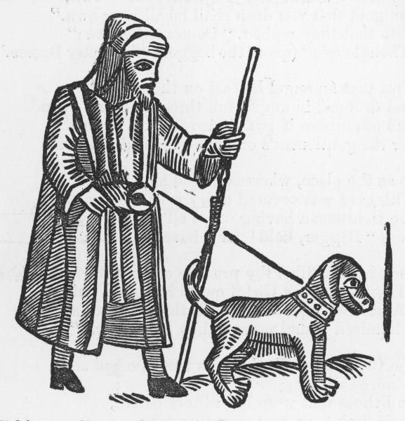 A blind beggar with his dog