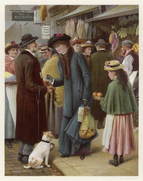 A shopper in a busy street gives a coin to a blind man who is begging with his dog, watched by a young girl selling oranges