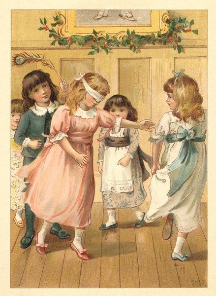 Children playing 'Blind Man's Buff' at a Christmas party