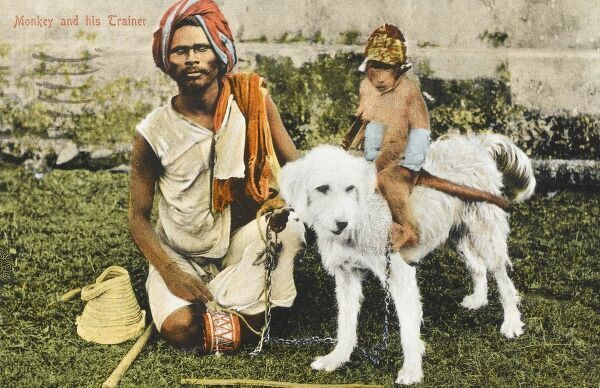 A blind monkey trainer with his small dressed monkey, who rides a white dog - India