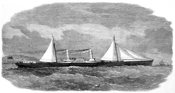 Engraving of the steamship 'Lizzie' built on the Clyde, Scotland, and first used as a blockade runner during the American Civil War, 1864