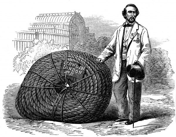 Engraving showing Blondin (1824-1897), the French high-wire walker and acrobat, pictured outside the Crystal Palace, Sydenham, with one of his ropes