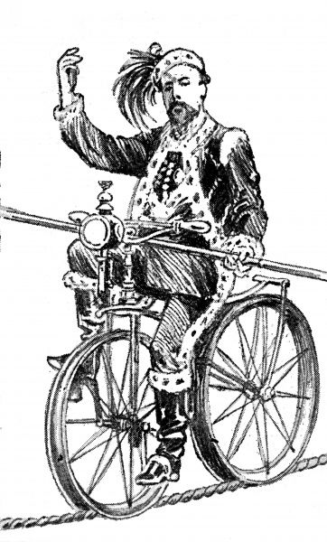 Illustration showing Blondin (1824-1897), the French tight-rope walker and acrobat, riding a bicycle along a high-wire