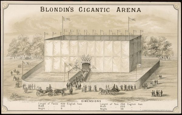 The 'Gigantic Arena' erected for a demonstration of the tightrope walking skills of the legendary acrobat Charles Blondin. Up to 5000 spectators filled the massive tent