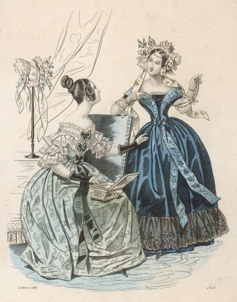 Hair: plaited & coiled over the ears. Dresses: off-the shoulder, long ribbons descending from the waist, single flounce at hem, sleeves consisting of 3 lace flounces