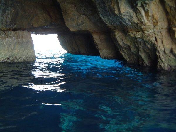 The inside of the Blue Grotto