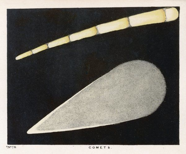 An illustration of two comets