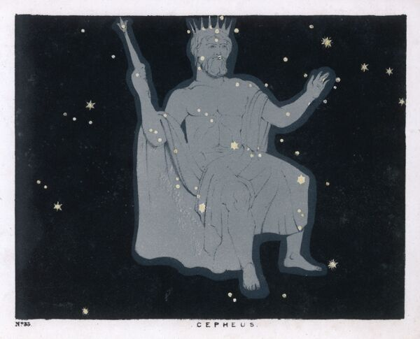 The constellation of Cepheus which takes the form of a 'regal personage, seated, having a diadem on his head, a sceptre in his right hand, with his left hand extended&#39