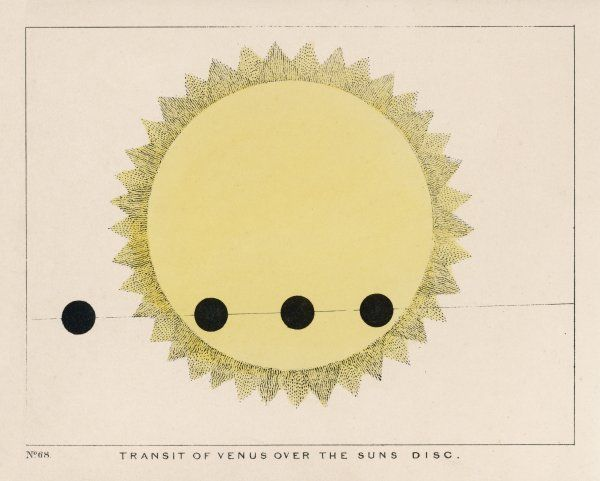 The transit of Venus over the Sun's disc. Date: 1849