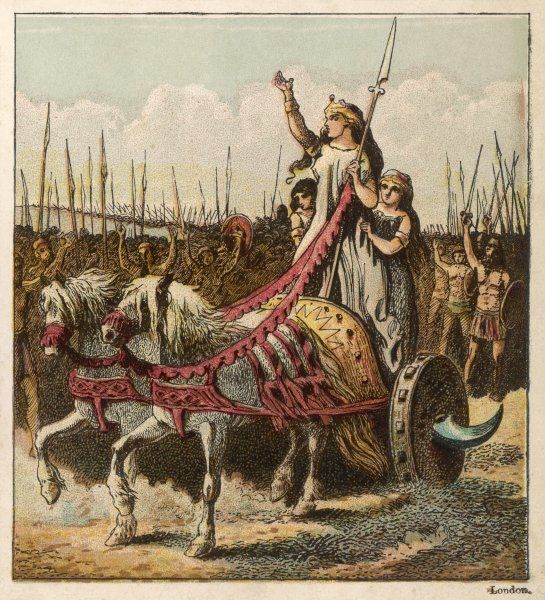 Boadicea, Queen of the Iceni, encourages the native Britons to defend their country against the Roman invaders