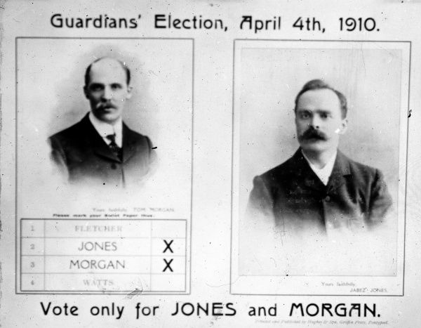 A Board of Guardians election leaflet, urging the electorate to vote only for Jones and Morgan. Jabez Jones (the father of W E Jones) is pictured on the right
