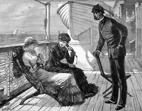 Engraving of a scene on the deck of a passenger ship, 1883. The lady on the left has caught a swallow, which all three Victorian passengers are admiring