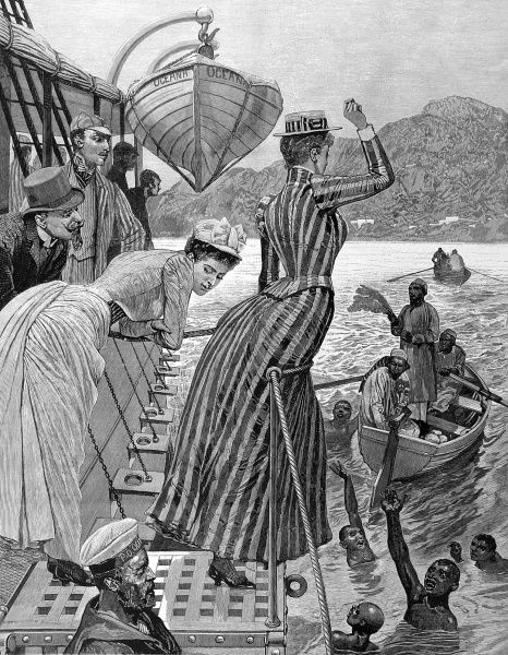 Engraving of a scene on the deck of a passenger ship anchored off Aden; European passengers are pictured throwing coins into the water for local children to dive for