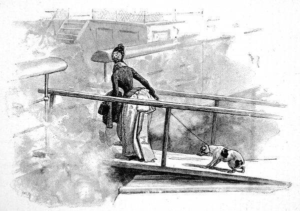 Illustration of a lady and her dog boarding a P&O steam-ship
